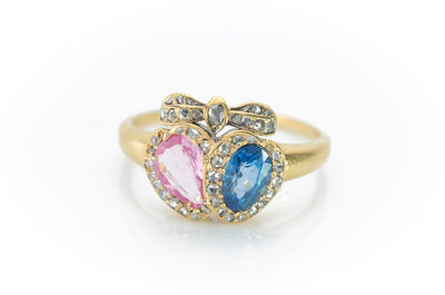 ANTIQUE TWIN HEARTS RING WITH PINK AND BLUE SAPPHIRES - SinCityFinds Jewelry
