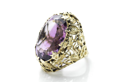 ART NOUVEAU AMETHYST COCKTAIL RING - SinCityFinds Jewelry