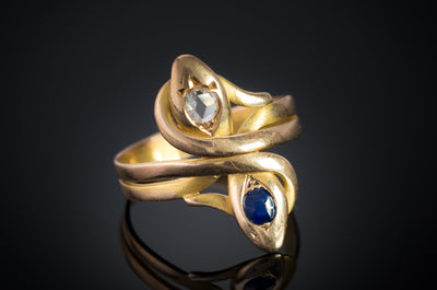 ROSE CUT DIAMOND AND SAPPHIRE SNAKE RING - SinCityFinds Jewelry