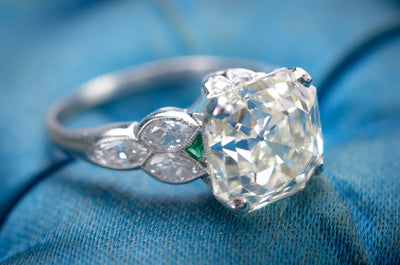 3.78CT VINTAGE ASSCHER CUT DIAMOND ART DECO ENGAGEMENT RING - SinCityFinds Jewelry