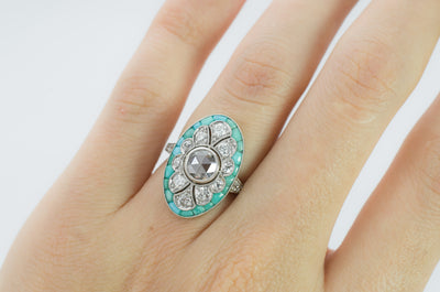 TURQUOISE AND DIAMOND ART DECO STYLE RING - SinCityFinds Jewelry