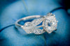 MADE TO ORDER EDWARDIAN STYLE LEAF SHAPED PLATINUM SEMI MOUNT - SinCityFinds Jewelry