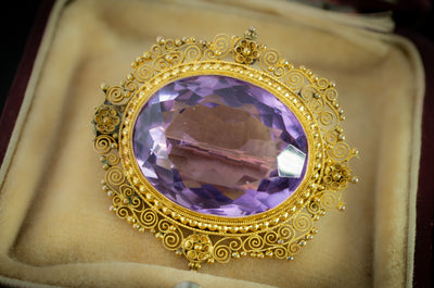 21.20CT ANTIQUE AMETHYST BROOCH - SinCityFinds Jewelry