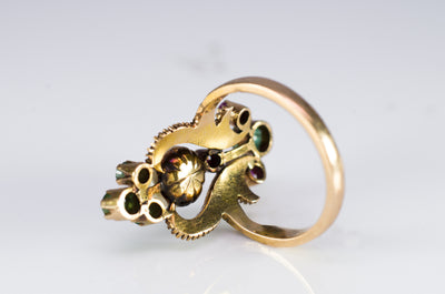 MIXED GEM AND ROSE CUT DIAMOND COCKTAIL RING - SinCityFinds Jewelry