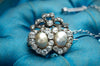 TWIN HEARTS PEAL BROOCH WITH OLD MINE CUT DIAMONDS - SinCityFinds Jewelry
