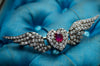 BURMA RUBY AND DIAMOND WINGED BROOCH