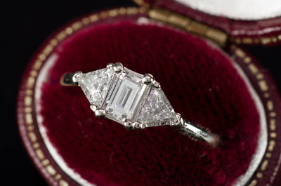 VINTAGE STEP CUT EMERALD AND TRIANGLE CUT DIAMOND RING - SinCityFinds Jewelry