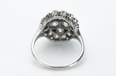 2.84CTW OLD EUROPEAN AND MINE CUT CLUSTER RING