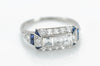 THREE STONE CARRE CUT AND SAPPHIRE ART DECO RING - SinCityFinds Jewelry