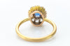SAPPHIRE AND OLD MINE CUT DIAMOND HALO RING - SinCityFinds Jewelry