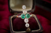 CABOCHON EMERALD AND MINE CUT DIAMOND RING - SinCityFinds Jewelry
