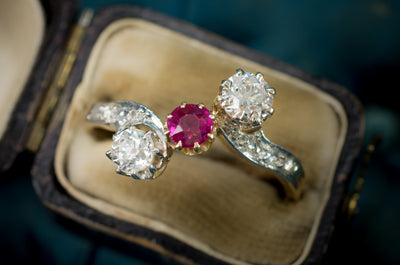BELLE EPOQUE FRENCH DIAMOND AND RUBY RING - SinCityFinds Jewelry