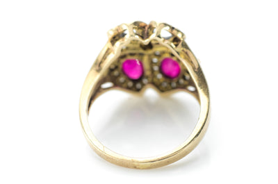 RUBY AND DIAMOND TWIN HEARTS RING - SinCityFinds Jewelry