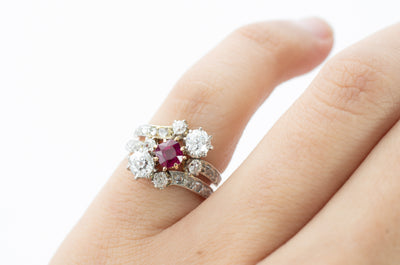 ANTIQUE NATURAL RUBY AND OLD CUT DIAMOND RING
