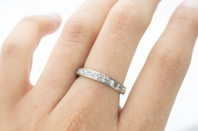 FRENCH PLATINUM AND ROSE CUT DIAMOND ETERNIT BAND