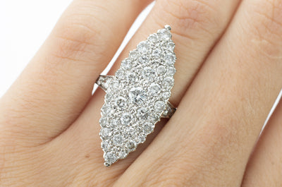 LARGE DIAMOND NAVETTE RING IN 18K GOLD - SinCityFinds Jewelry