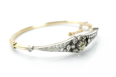 2.1CTW ANTIQUE OLD MINE CUT BANGLE - SinCityFinds Jewelry
