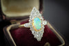 1.85CTW OPAL AND OLD CUT DIAMOND NAVETTE - SinCityFinds Jewelry