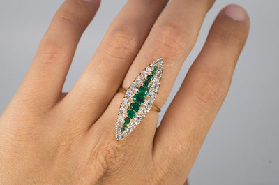 OLD CUT DIAMOND AND EMERALD NAVETTE IN GOLD - SinCityFinds Jewelry