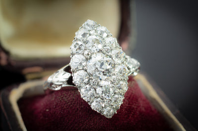 2.44CTW OLD EUROPEAN CUT DIAMOND NAVETTE STYLE RING - SinCityFinds Jewelry