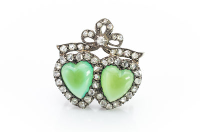 ANTIQUE CHRYSOPRASE AND ROSE CUT DIAMOND TWIN HEARTS BROOCH - SinCityFinds Jewelry