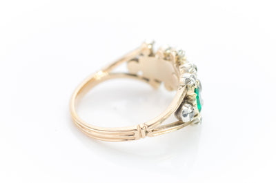 ANTIQUE EMERALD AND DIAMOND HALF HOOP BAND - SinCityFinds Jewelry