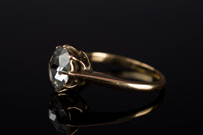 ANTIQUE ROSE CUT DIAMOND SOLITAIRE - SinCityFinds Jewelry