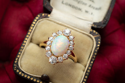 ANTIQUE OPAL AND OLD EUROPEAN CUT DIAMOND RING - SinCityFinds Jewelry