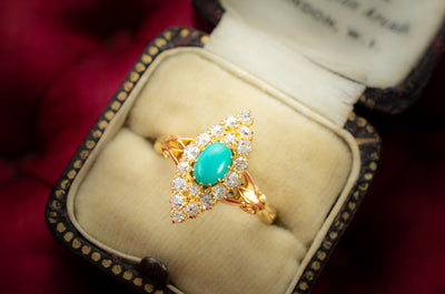 TURQUOISE AND DIAMOND NAVETTE - SinCityFinds Jewelry