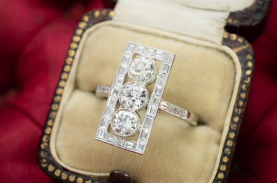 OLD EUROPEAN DIAMOND PLATINUM RING WITH BAGUETTE HALO - SinCityFinds Jewelry