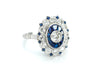 OLD EUROPEAN CUT DIAMOND AND SAPPHIRE TARGET RING.