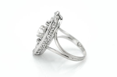 ELONGATED OVAL OLD CUT DIAMOND RING