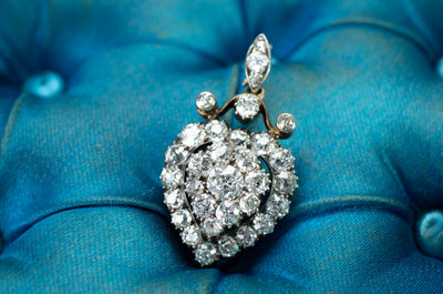 2.6CTW VICTORIAN DIAMOND HEART PENDANT - SinCityFinds Jewelry