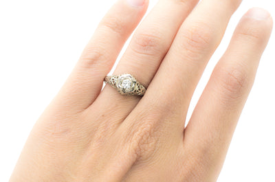 VINTAGE 18K GOLD DIAMOND SOLITAIRE - SinCityFinds Jewelry
