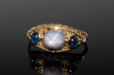 4.62CTW VINTAGE STAR SAPPHIRE CABOCHON RING - SinCityFinds Jewelry