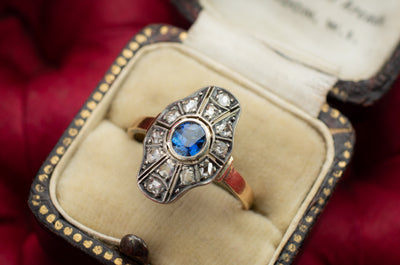 SAPPHIRE AND ROSE CUT DIAMOND RING - SinCityFinds Jewelry