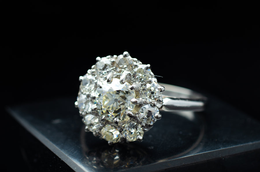 1.7CTW OLD EUROPEAN CUT DIAMOND HALO RING IN PLATINUM