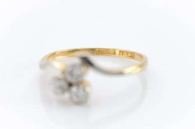ANTIQUE TREEFOIL OLD EUROPEAN CUT DIAMOND RING - SinCityFinds Jewelry