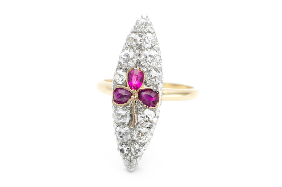 ANTIQUE RUBY AND OLD EUROPEAN CUT NAVETTE RING