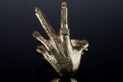 HEAVY VINTAGE FIGURAL HAND  RING