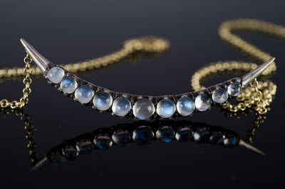 VINTAGE MOONSTONE CRESCENT BROOCH NECKLACE CONVERSION - SinCityFinds Jewelry