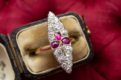 ANTIQUE RUBY AND OLD EUROPEAN CUT NAVETTE RING - SinCityFinds Jewelry