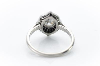 ONYX AND OLD EUROPEAN CUT DIAMOND RING