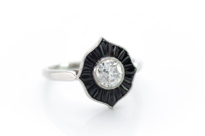 OLD EUROPEAN CUT AND ONYX RING - SinCityFinds Jewelry