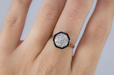 BLACK ENAMEL AND OLD MINE CUT CLUSTER RING