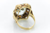 AQUAMARINE RING IN TRI COLOR GOLD SETTING - SinCityFinds Jewelry