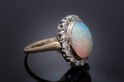 VINTAGE OPAL AND DIAMOND RING - SinCityFinds Jewelry