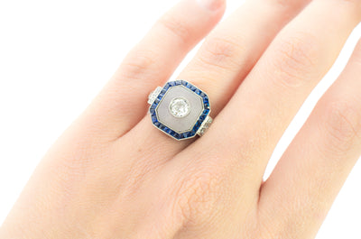 SAPPHIRE ROCK CRYSTAL AND DIAMOND RING IN PLATINUM