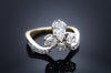 18k GOLD AND PLATINUM ANTIQUE CUT DIAMOND TIARA RING - SinCityFinds Jewelry