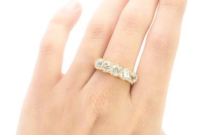 3.7CTW OLD MINE CUT FIVE STONE BAND - SinCityFinds Jewelry